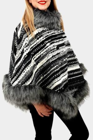 Poncho din lana cu blana 8